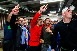 Sheffield United celebrate securing automatic promotion from the Sky Bet Championship to the Premier League, after gathering at the stadium to watch Leeds United drop points versus Aston Villa on TV - Rogan/JMP - 28/04/2019 - Bramall Lane - Sheffield, England - Sky Bet Championship.