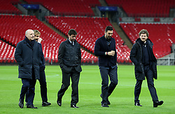 Juventus Gianluigi Buffon (second right) on the pitch before the press conference at Wembley Stadium, London.