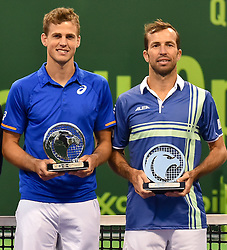 DOHA, Jan. 7, 2017  Vasek Pospisil (L) of Canada and Radek Stepanek of the Czech Republic hold their runner-ip plates after their men's doubles final match against Fabrice Martin and Jeremy Cardy of France at the Khalifa International Tennis Complex in Doha, capital of Qatar on Jan. 6, 2017. Jeremy Chardy and Fabrice Martin won the title 2-0. (Credit Image: © Nikku/Xinhua via ZUMA Wire)