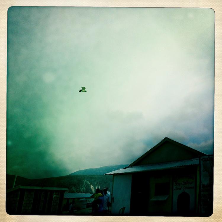 A bird over the Corail camp on Thursday, April 5, 2012 in Port-au-Prince, Haiti.