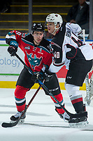 KELOWNA, CANADA - NOVEMBER 10: Dillon Dube #19 of the Kelowna Rockets stick checks Milos Roman #40 of the Vancouver Giants during first period on November 10, 2017 at Prospera Place in Kelowna, British Columbia, Canada.  (Photo by Marissa Baecker/Shoot the Breeze)  *** Local Caption ***