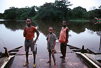 Young Zaire men in the jungles of Central Africa