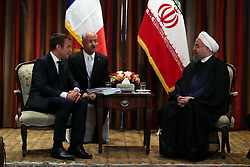France's President Emmanuel Macron (L) meets with his Iranian counterpart Hassan Rouhani (R) in New York City, NY, USA as world leaders gathered in the United States for the UN General Assembly, on September 18, 2017. Photo by Parspix/ABACAPRESS.COM