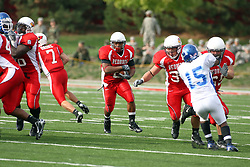 13 October 2007: Rafael Rice enjoys great blocking from the Redbird offensive line. The Indiana State Sycamores were jacked 69-17 by the Illinois State Redbirds at Hancock Stadium on the campus of Illinois State University in Normal Illinois.