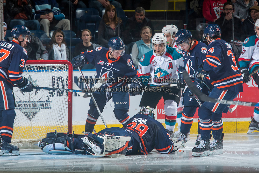 KELOWNA, CANADA - MARCH 24: Connor Ingram #39 of the Kamloops Blazers covers the puck and makes a save against the Kelowna Rockets on March 24, 2017 at Prospera Place in Kelowna, British Columbia, Canada.  (Photo by Marissa Baecker/Shoot the Breeze)  *** Local Caption ***