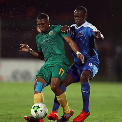 Wayde Jooste of Golden Arrows tackled by Blessing Moyo of Maritzburg Utd during the 2016 Premier Soccer League match between Maritzburg Utd and Golden Arrows held at the Harry Gwala Stadium in Pietermaritzburg, South Africa on the 28th October 2016<br /> <br /> Photo by:   Steve Haag / Real Time Images