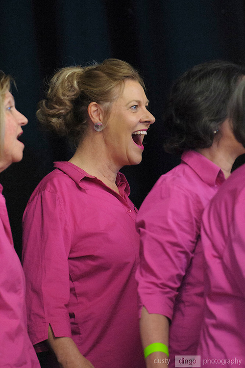 "Internationally acclaimed, award-winning choir ""A Capella West"" perform onstage at the Guildford Town Hall, part of the opening concert of the 2018 Guildford Songfest"