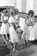 Waiting for the result. Coal Queen competition. 1983 Yorkshire Miner's Gala. Barnsley