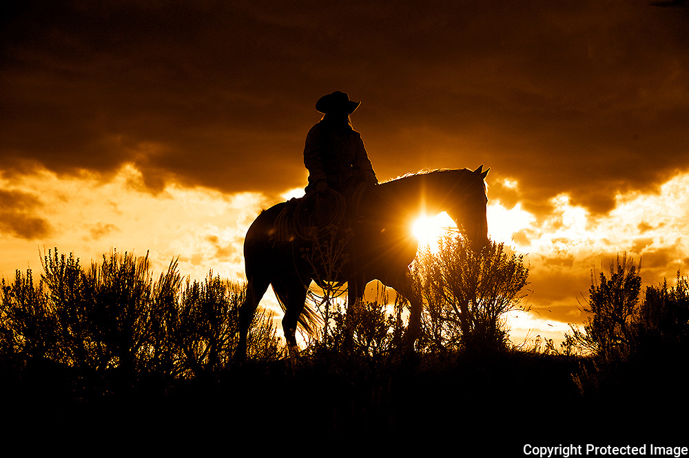 Cowgirl with Sun Flare