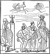 Iphigenia, daughter of Agamemnon, king of Mycenae. Sacrifice of Iphigenia by her father at Aulis to secure favourable winds for the fleet to sail against Troy. Rescued, according to legend, by Artemis (Diana) and carried to Tauris where she became a a priestess. Euripedes uses her story as plot material for two dramas.