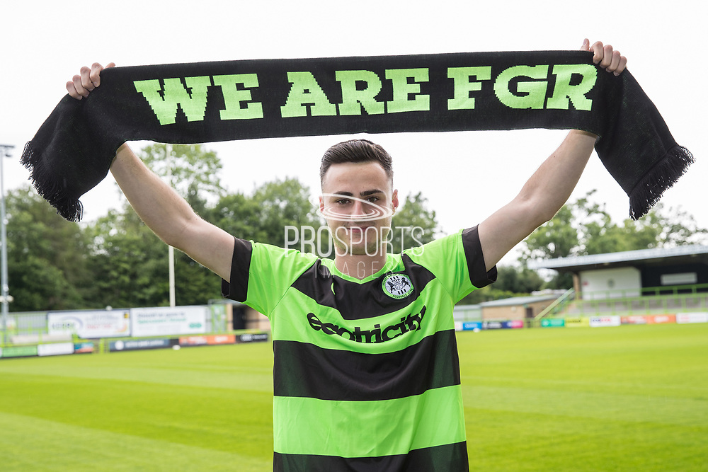 Aaron Collins signs a contract ahead of the 2019/20 season with Forest Green Rovers at the New Lawn, Forest Green, United Kingdom on 18 June 2019.