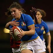 Cardiff 11/03/2018, Principality Stadium<br /> Natwest 6 nations 2018 Femminile<br /> Galles vs Italia<br /> Maria Magatti verso meta