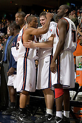 Virginia's J.R. Reynolds (2) is congratulated by the UVA bench after scoring 40 points against Wake Forest.  The Virginia Cavaliers defeated the Wake Forest Demon Decons 88-76 at the John Paul Jones Arena in Charlottesville, VA on January 21, 2007.
