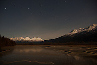 A full moon over the lake in Haines Alaska.