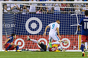 CHICAGO, IL - AUGUST 02: Real Madrid forward Karim Benzema (9) shot on goal is saved by MLS All-Star and Seattle Sounders Goalkeeper Stefan Frei (24) in the second half during a soccer match between the MLS All-Stars and Real Madrid on August 02, 2017, at Soldier Field in Chicago, IL. The game ended in a 1-1 tie with Real Madrid winning on penalty kicks 4-2. (Photo By Daniel Bartel/Icon Sportswire)