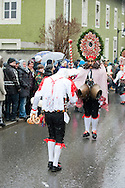 Imst Schemenlaufen, a traditional carnival held only once every four years in Imst, Tirol, Austria (31 January 2016). The Schemenlaufen is inscribed on the UNESCO list of Intangible Cultural Heritage. Pictured here, the Roller ('jumpers') and Scheller ('ringers'), the two main 'characters' in Schemenlaufen). © Rudolf Abraham