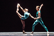 Based in Dresden, the Semperoper Ballett is internationally renowned for its distinguished ballet technique with both classical and contemporary repertoire. <br /> All Forsythe' features three pieces by William Forsythe, and this is the first of the three: In the Middle, Somewhat Elevated.   ©Tony Nandi.2018