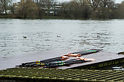 Hammersmith. London. United Kingdom,  Leander Club's blades rest on the BR pontoon.2018 Men's Head of the River Race.  location Barnes Bridge, Championship Course, Putney to Mortlake. River Thames, <br /> <br /> Sunday   11/03/2018<br /> <br /> [Mandatory Credit:Peter SPURRIER Intersport Images]<br /> <br /> Leica Camera AG  M9 Digital Camera  1/360 sec. 50 mm f. 160 ISO.  17.5MB