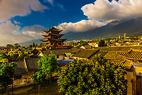 Overview of the Wuhua Gate in the Old Town of Dali, Yunnan Province, China.