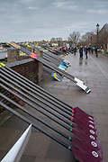 Hammersmith. London. United Kingdom,  Oars stacked before the 2018 Men's Head of the River Race.  location Barnes Bridge, Championship Course, Putney to Mortlake. River Thames, <br /> <br /> Sunday   11/03/2018<br /> <br /> [Mandatory Credit:Peter SPURRIER Intersport Images]<br /> <br /> LEICA CAMERA AG  LEICA Q (Typ 116)  1/250 sec. 28 mm f.8 200 ISO.  42.5MB