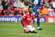 Charlton Athletic midfielder, Callum Harriott (11) on his knees after missing a chance during the Sky Bet Championship match between Charlton Athletic and Birmingham City at The Valley, London, England on 2 April 2016. Photo by Matthew Redman.