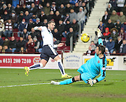 Hearts&rsquo; Neil Alexander saves from Dundee&rsquo;s Kevin Thomson - Hearts v Dundee - SPFL Premiership at Tynecastle<br /> <br />  - &copy; David Young - www.davidyoungphoto.co.uk - email: davidyoungphoto@gmail.com