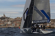 FRANCE, Marseille. 18th June 2011. AUDI MedCup Marseille Trophy. Costal Race. TP52, CONTAINER approaches the finish.