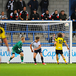 TELFORD COPYRIGHT MIKE SHERIDAN 13/10/2018 - GOAL. Josh Wilson (formerly of AFC Telford) scores to make it 0-1 during the Vanarama National League North fixture between AFC Telford United and Chorley