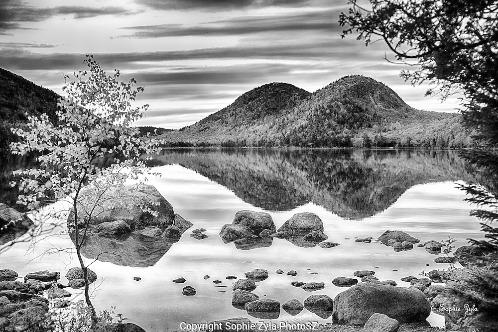 Jordan Pond Sunset in B & W
