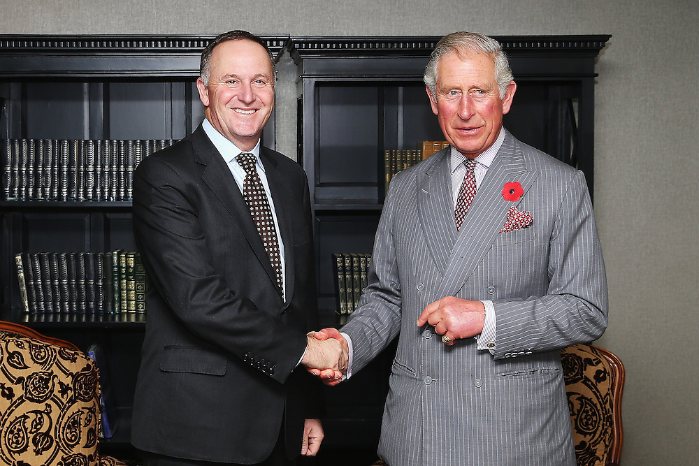 New Zealand Prime Minister John Key meets Prince Charles, Prince of Wales at the Langham Hotel, Auckland, New Zealand, New Zealand, Monday, November 09, 2015. Credit:SNPA / Getty, Hannah Peters  **POOL**