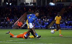 Ivan Toney of Peterborough United rounds Mark Oxley of Southend United to score his sides third goal of the game - Mandatory by-line: Joe Dent/JMP - 11/02/2020 - FOOTBALL - Weston Homes Stadium - Peterborough, England - Peterborough United v Southend United - Sky Bet League One