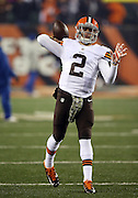 Cleveland Browns quarterback Johnny Manziel (2) throws a pass while warming up before the NFL week 10 regular season football game against the Cincinnati Bengals on Thursday, Nov. 6, 2014 in Cincinnati. The Browns won the game 24-3. ©Paul Anthony Spinelli