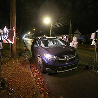 The film crew starts the setup process for a scene during filming on North Green Street Monday night.