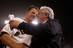 SAN FRANCISCO, CA - JUNE 13: Matt Cain #18 of the San Francisco Giants is congratulated by general manager Brian Sabean (right) after the game against the Houston Astros at AT&T Park on June 13, 2012 in San Francisco, California. Cain pitched a perfect game as the San Francisco Giants defeated the Houston Astros 10-0. (Photo by Jason O. Watson/Getty Images) *** Local Caption *** Matt Cain; Brian Sabean