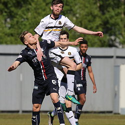 Samuel Stanton out jumps Joe McKee during the Dumbarton v Falkirk Scottish Championship 06 May 2017<br /> <br /> <br /> <br /> <br /> <br /> (c) Andy Scott | SportPix.org.uk