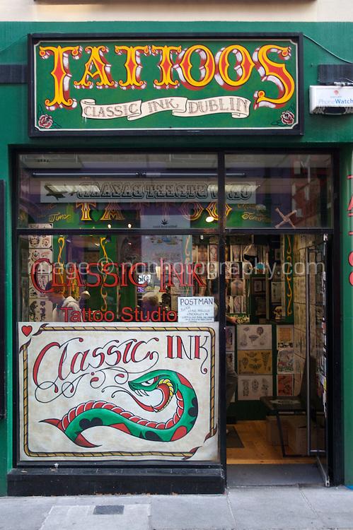 Tattoo shop in Temple Bar in Dublin Ireland