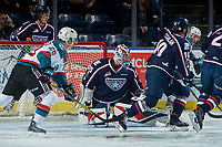 KELOWNA, CANADA - JANUARY 3: Beck Warm #35 of the Tri-City Americans makes a save against the Kelowna Rockets on January 3, 2017 at Prospera Place in Kelowna, British Columbia, Canada.  (Photo by Marissa Baecker/Shoot the Breeze)  *** Local Caption ***