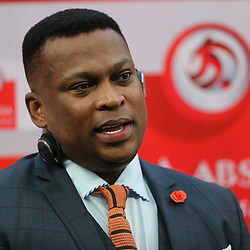 DURBAN, SOUTH AFRICA - SEPTEMBER 30: Robert Marawa during the Absa Premiership match between Kaizer Chiefs and Baroka FC at Moses Mabhida Stadium on September 30, 2017 in Durban, South Africa. (Photo by Steve Haag/Gallo Images)