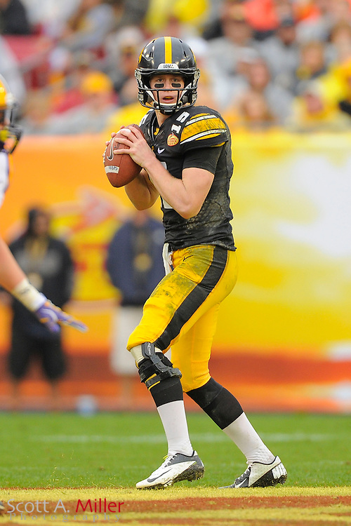 Iowa Hawkeyes quarterback Jake Rudock (15) during the LSU Tigers 21-14 win over the Hawkeyes in the 2014 Outback Bowl at Raymond James Stadium January 1, 2014 in Tampa, Florida.      <br /> <br />  &copy; 2014 Scott A. Miller