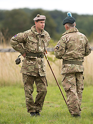 THETFORD - UK - 09- SEPT - 2013: Britain's Prince Edward, HRH The Earl of Wessex as Royal Colonel the London Regiment views a battlefield training exercise by London's on ly Territorial Army Infantry Regiment at the STANTA Training Area near Thetford in Norfolk. The reservists were training for fighting in built up areas , particularly entry to buildings.<br /> Photo by Ian Jones