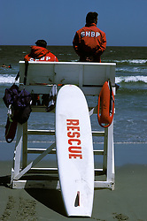Life guard, shore patrol members check bathers in surf on the beach in Stone Harbor, NJ.