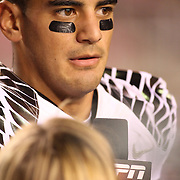 Oregon Duck QB Marcus Mariota was interviewed post game by ESPN.  The University of Oregon Ducks defeated the University of Utah Utes 51-27 at Rice-Eccles Stadium, Salt Lake City, Utah. Photo by Barry Markowitz, 11/8/14, 8pm