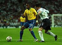 Photo: Tony Oudot.<br /> England v Brazil. International Friendly. 01/06/2007.<br /> Robinho of Brazil with Nicky Shorey of England
