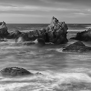 Haystacks In Crashing Surf - Sunset - Fort Bragg, CA - Black & White