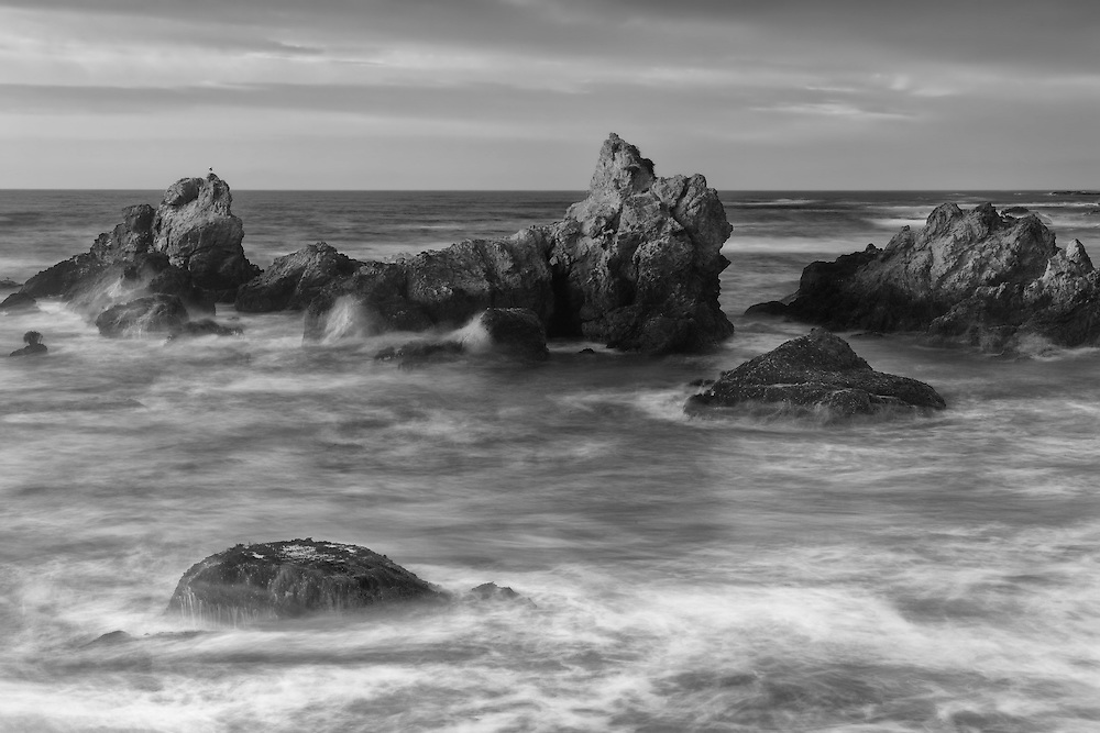 Haystacks In Crashing Surf - Sunset - Fort Bragg, CA - Black & White