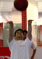 ATHLETE WITH INTELLECTUAL DISABILITIES PLAING BASKETBALL DURING SPORT EXPERIENCE INCLUDING SPECIAL OLYMPICS WORLD SUMMER GAMES SHANGHAI 2007..SPECIAL OLYMPICS IS AN INTERNATIONAL ORGANIZATION DEDICATED TO EMPOWERING INDIVIDUALS WITH INTELLECTUAL DISABILITIES..SHANGHAI , CHINA , OCTOBER 01, 2007.( PHOTO BY ADAM NURKIEWICZ / MEDIASPORT )..