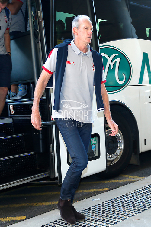 Wayne Bennett coach of England comes of the team bus before the Rugby League World Cup match between Australia and England at Melbourne Rectangular Stadium, Melbourne, Australia on 27 October 2017. Photo by Mark  Witte.