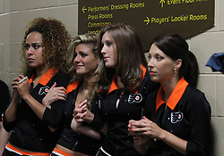 June 9, 2010; Philiadelphia, PA; USA;  The Flyers girls look on anxiously with the Flyers trailing by a goal during the third period of Game 6 of the Stanley Cup Finals at the Wachovia Center.
