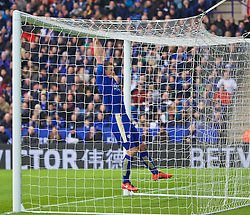 LEICESTER, ENGLAND - Saturday, February 27, 2016: Leicester City's Robert Huth hangs off the cross-bar against Norwich City during the Premier League match at Filbert Way. (Pic by David Rawcliffe/Propaganda)