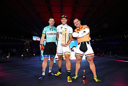 Shane Perkins, Maximilian Levy and Robert Forstemann during day six of the Six Day Series at Lee Valley Velopark, London